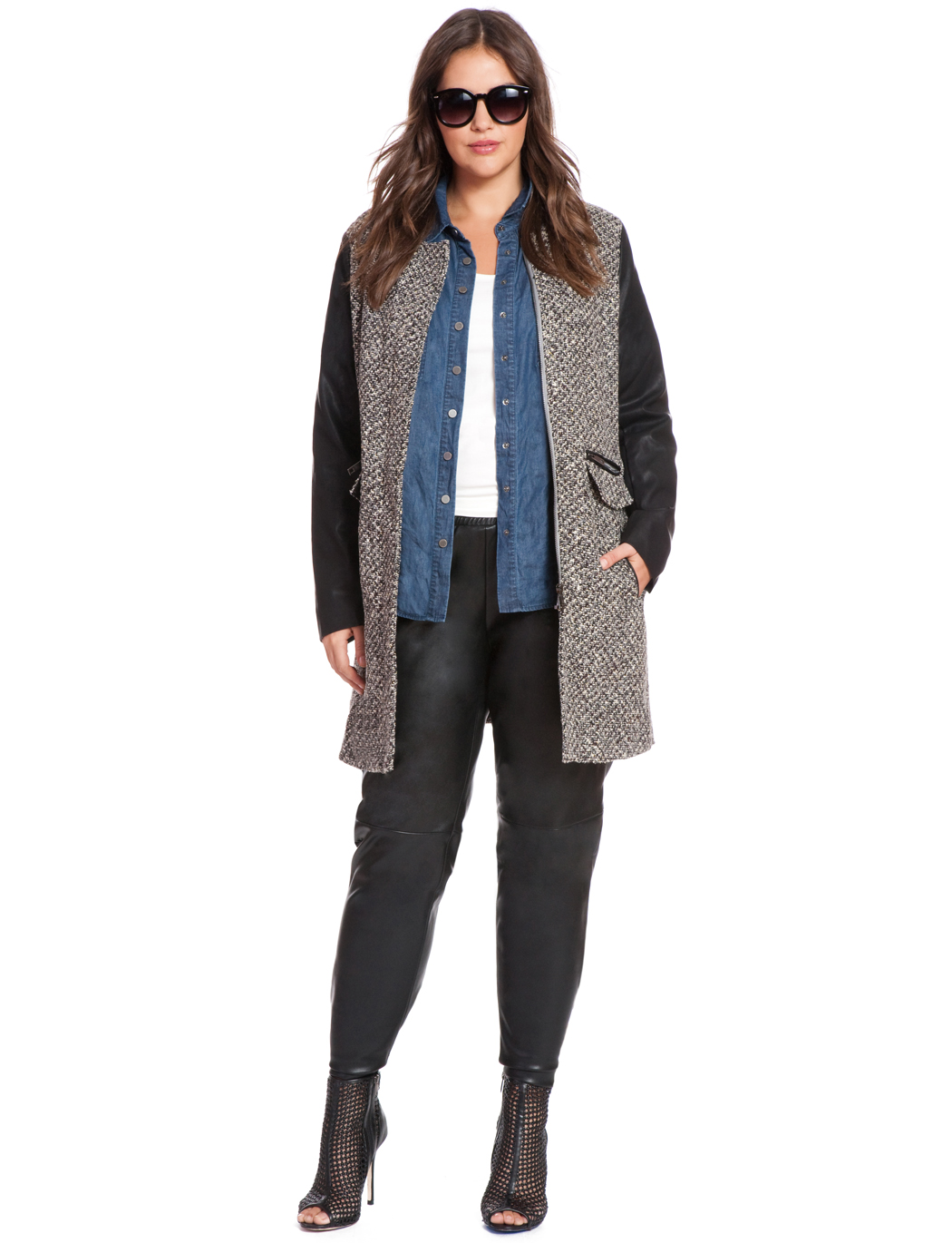 Tweed Faux Leather Coat