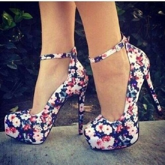shoes high heels flower shoes girly vintage roses platform high heels floral floral high heels cute