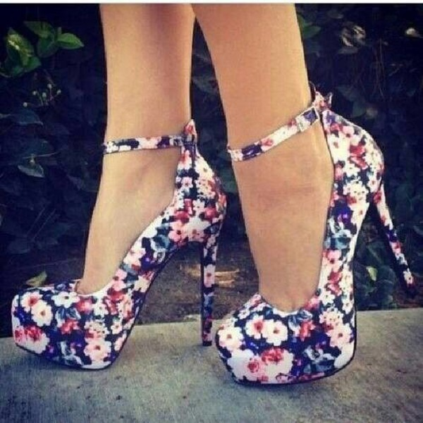 shoes high heels flower shoes girly vintage roses