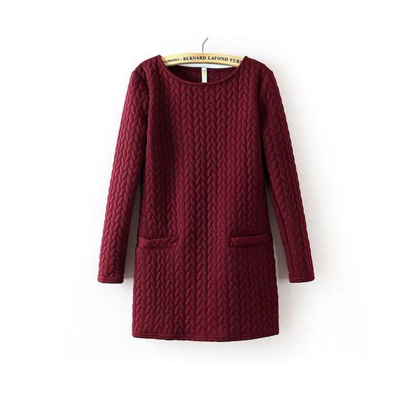 red dress burgundy knitwear