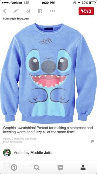 top stitch crew neck disney sweatshirt
