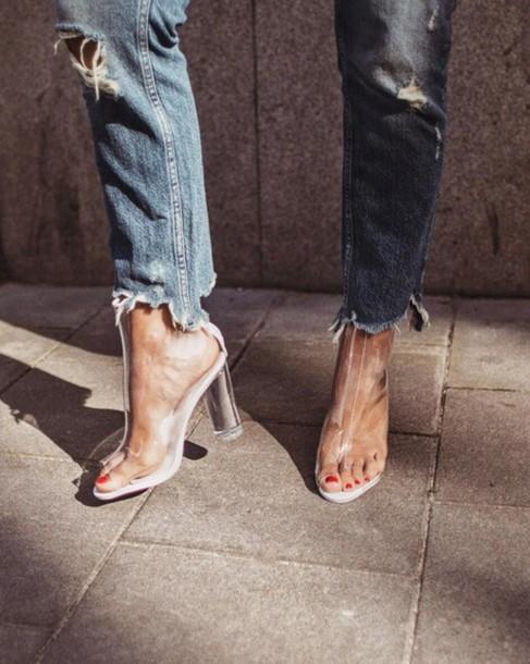 shoes tumblr boots peep toe boots transparent transparent boots clear boots  clear chucky heels vue boutique