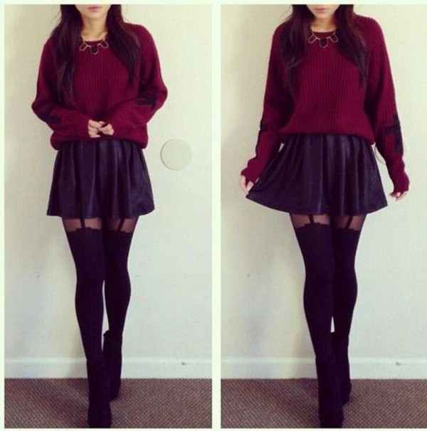 skirt skater skirt leather sweater skirt with suspenders black suspender tights shoes underwear pants tights red knit jumper crop winter outfits spring socks girly necklace pullover dark black