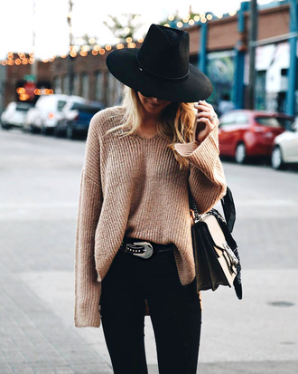 sweater tumblr nude sweater bell sleeve sweater denim jeans black jeans belt felt hat hat knit knitwear