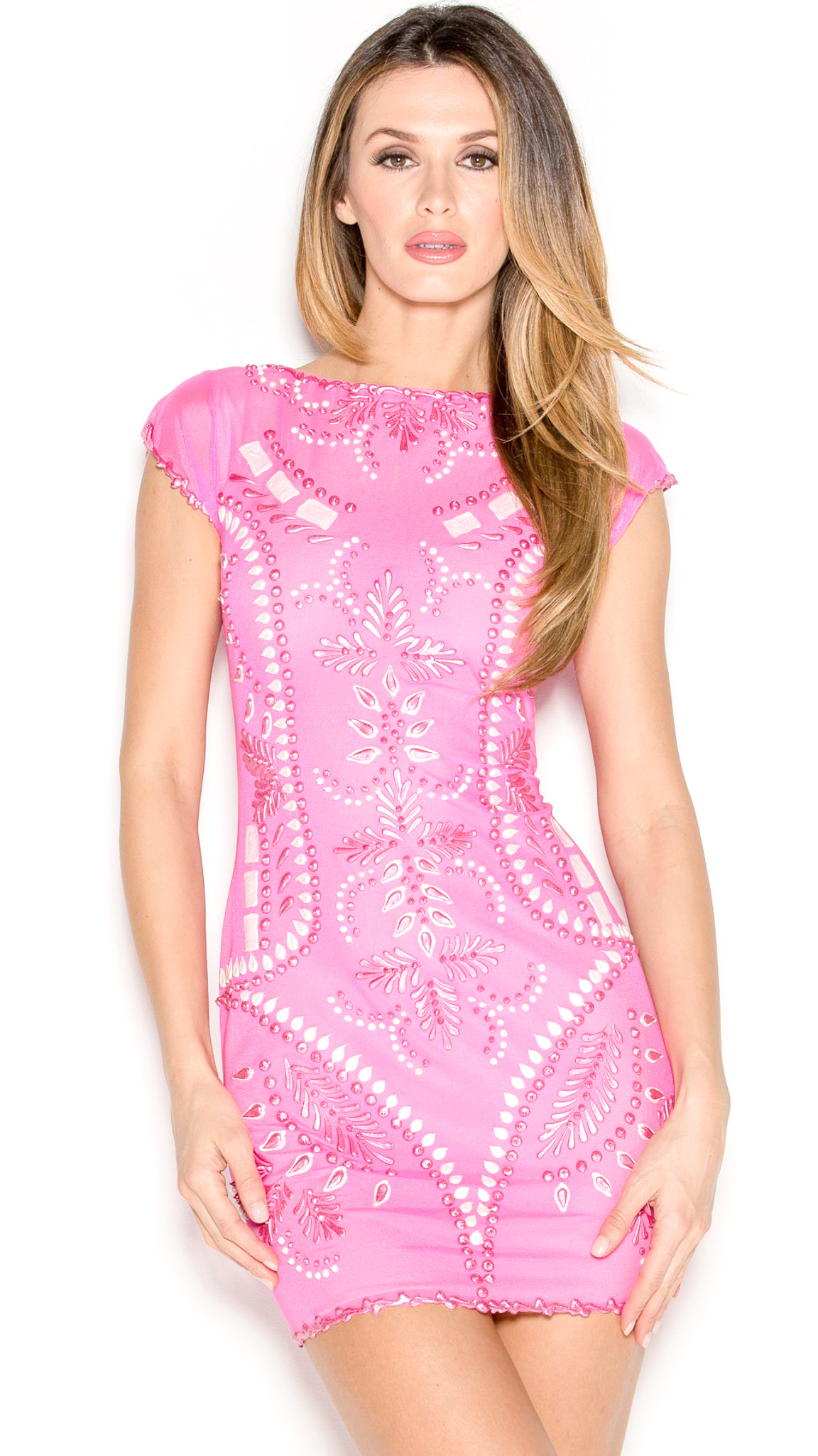 Meital Dress in Hot Pink with White – HOLT
