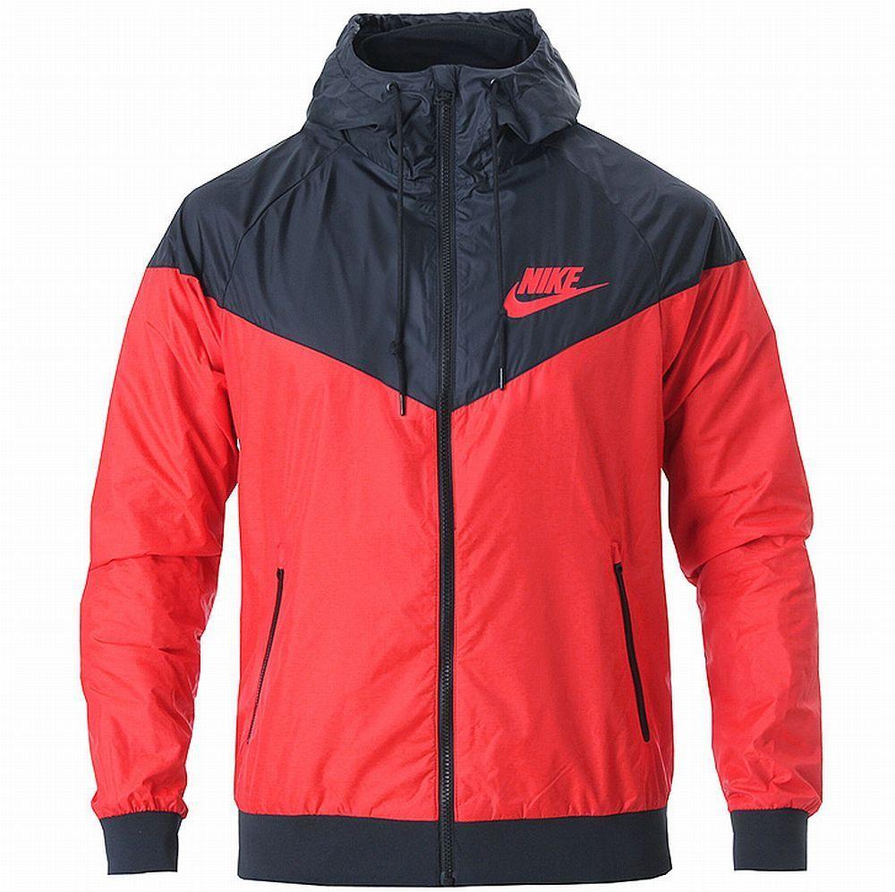 Nike As Windrunner Hoody Jacket Red Black Windbreaker