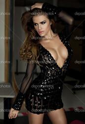dress,mesh,black,gems,studded,little black dress
