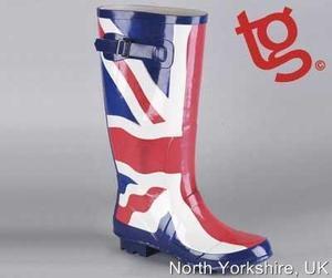 Ladies wide calf union jack wellies wellington boots uk size 3,4,5,6