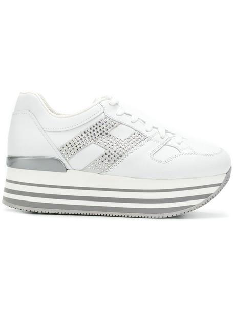 Hogan maxi women sneakers leather white shoes