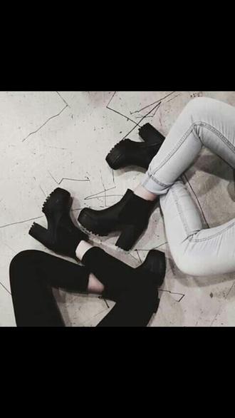 shoes black heels platforms tumblr boots