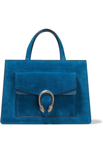 leather suede blue bag