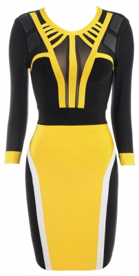Clothing : Bandage Dresses : 'Bree' Yellow & Black Mesh Bandage Dress