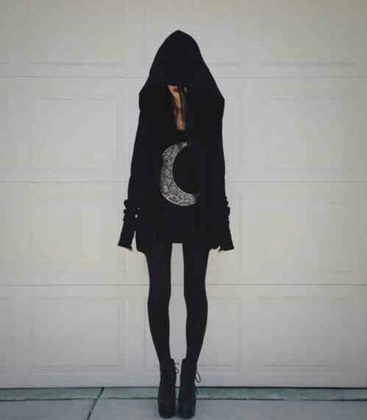 shirt dark indie moon hipster coat black goth emo punk jacket sweat jacket hoodie oversized sweater oversided hood blouse