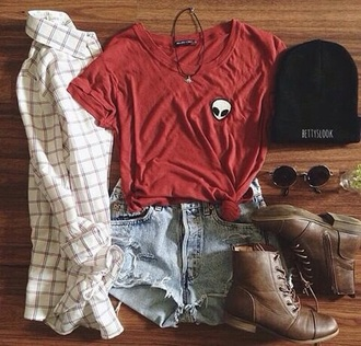t-shirt red beanie shorts sunglasses combat boots shoes