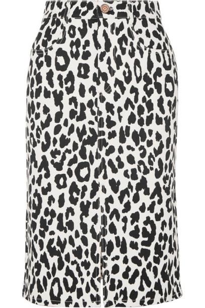 See By Chloé See By Chloé - Leopard-print Denim Midi Skirt - White