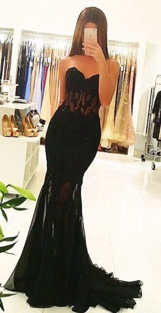 dress formal prom black formal dress prom dress black dress sheer clothes long dress long prom dress