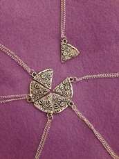 jewels,sharing,pizza,necklace,chain,gold,friends,friendship necklace,bff,lovely,cute,jewelry