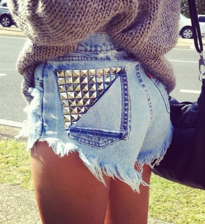 Customize Studded High Waisted Shorts by InfinitynBeyondx