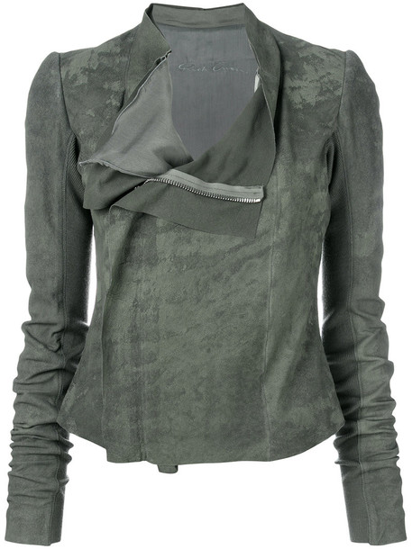 Rick Owens jacket biker jacket women silk wool green