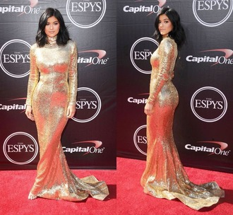 dress gown kylie jenner gold sequins gold sequins sequin dress turtleneck prom dress glitter dress glitter
