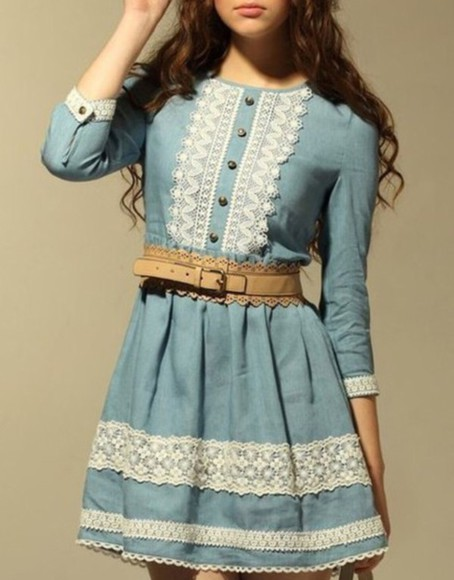 girly nice vintage adorable sky blue girls Belt cold japanese inspirational scallop nice, top, blue autum autumn colours denim dress
