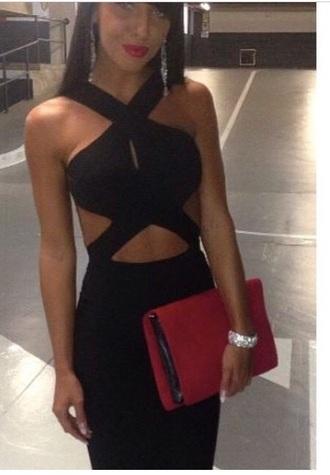 dress little black dress bodycon dress cut-out dress