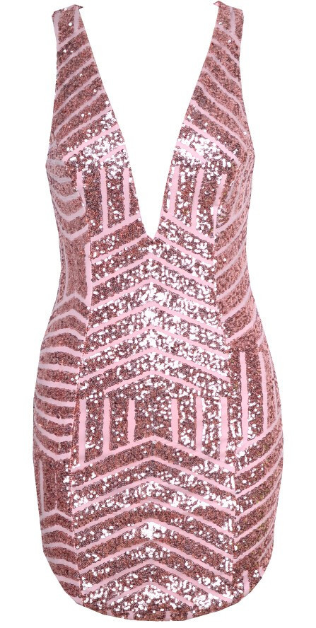 """""""plunging adventure"""" gold rose sequin bodycon dress – glamzelle"""