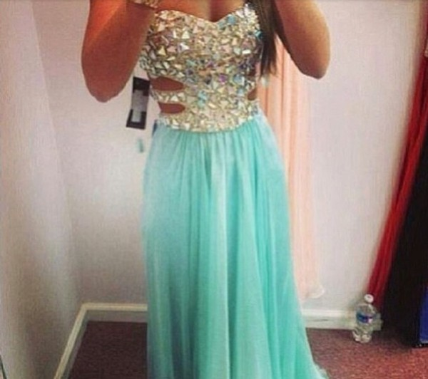 dress blue dress rhinestones blue long dress prom dress