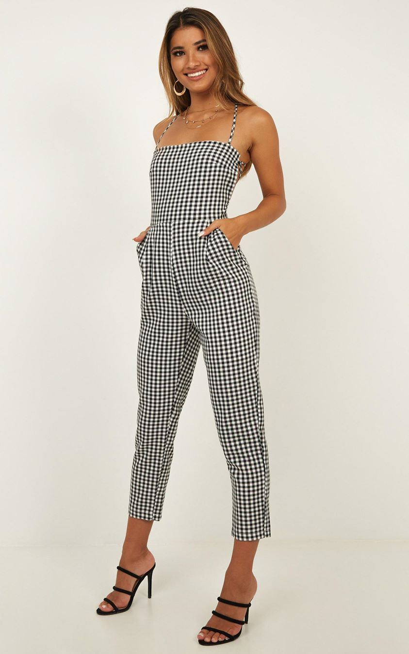 Showpo Little Liar Jumpsuit In Black Check - 4 (XXS) The Influencer