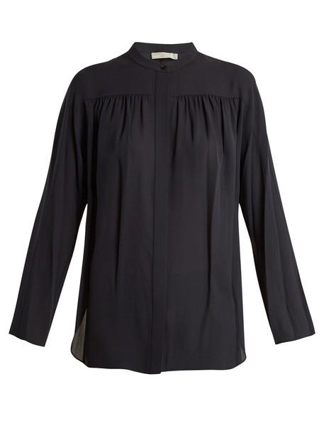 Vince blouse silk navy top