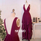 Niceoo dresses | 2016 burgundy v neck floor length chiffon prom dresses with ruffle
