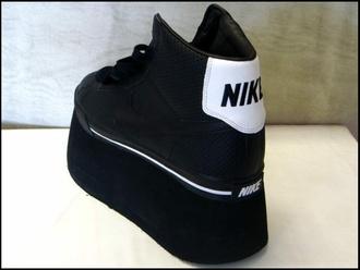 shoes nike platform shoes black goth black platforms black nike