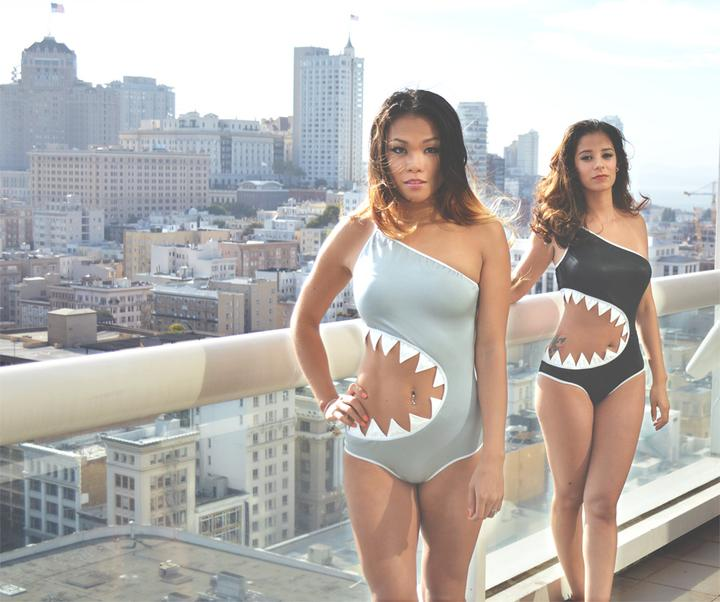 Shark bite monokini