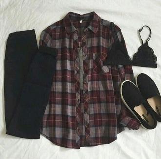 top plaid shirt red grey grunge