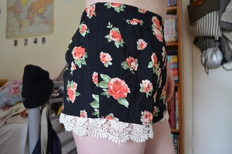 shorts floral shorts tumblr shorts black shorts lace shorts