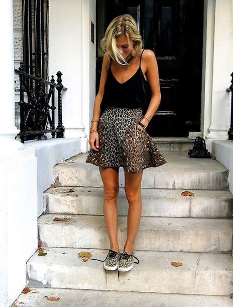 skirt mini skirt skater skirt leapord print leapord print skirt