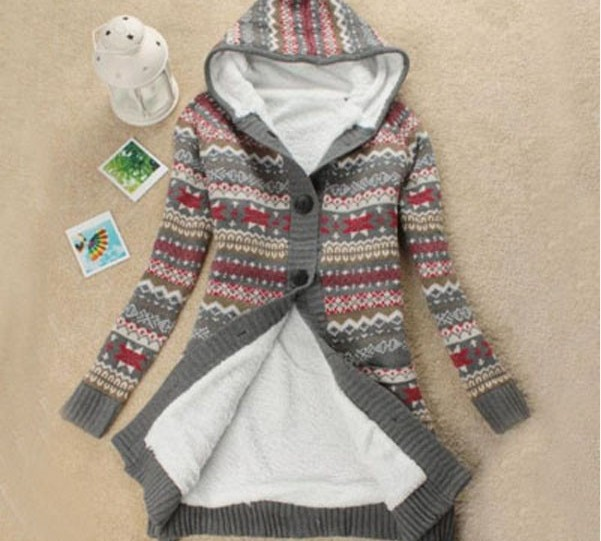 Knitwear Thick Winter Hooded Cardigan Coat Loose Sweater Fleece ...