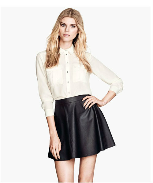 2013 ZIPPER BACK LEATHER LOOK A LINE SKATER SKIRT-in Skirts from Apparel & Accessories on Aliexpress.com