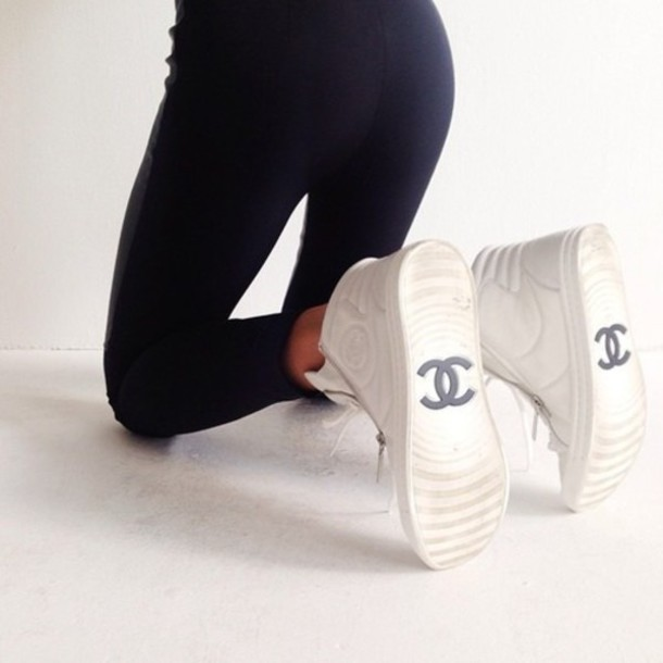 shoes white channel shoes chanel inspired sneakers leggings