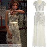 zendaya,prom dress,party dress,white dress,white,shiny dress,shiny