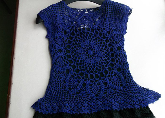 top crochet top crochet hand made blue dress