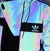 jacket,holographic,adidas,adidas jacket,holographicjacket