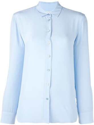 shirt button down shirt classic blue top