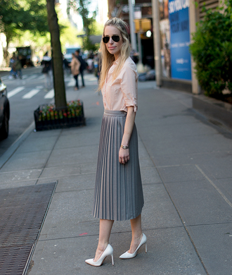 yael steren blogger shoes sunglasses jewels bag silver maxi skirt grey skirt button up aviator sunglasses long sleeves white heels