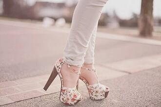 shoes floral heels romantic