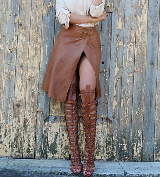 buckles leather skirt tan leather