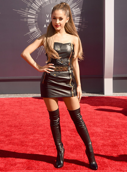leather moschino thigh high boots ariana grande