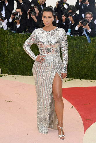 dress metallic silver sandals sandal heels kim kardashian kardashians slit dress gown prom dress met gala balmain shoes silver sandals