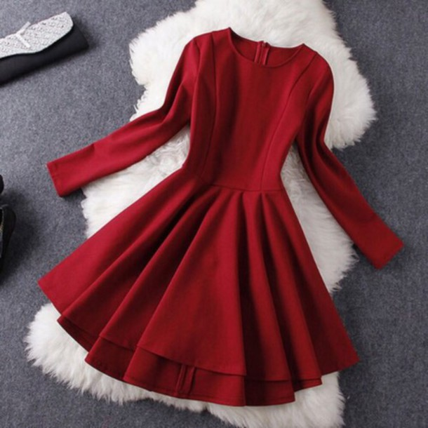 dress red skater dress red dress red long sleeve dress