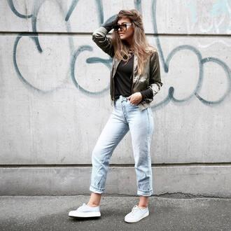 jacket tumblr denim jeans light blue jeans sneakers blue sneakers khaki top khaki bomber jacket satin bomber khaki bomber jacket sunglasses